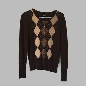 Cashmere Sweater with argyle pattern